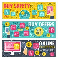 Safety buy vector banners for online shopping