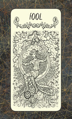 Fool. The Magic Gate tarot deck card. Fantasy engraved illustration with occult mysterious symbols and esoteric concept, vintage background