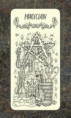 Magician. The Magic Gate tarot deck card. Fantasy engraved illustration with occult mysterious symbols and esoteric concept, vintage background