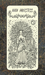 High Priestess. The Magic Gate tarot deck card. Fantasy engraved illustration with occult mysterious symbols and esoteric concept, vintage background
