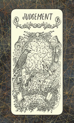 Judgement. The Magic Gate tarot deck card. Fantasy engraved illustration with occult mysterious symbols and esoteric concept, vintage background