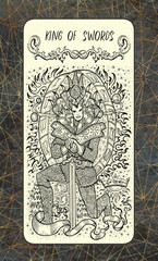 King of swords. The Magic Gate Tarot deck card. Fantasy engraved illustration with occult mysterious symbols and esoteric concept, vintage background