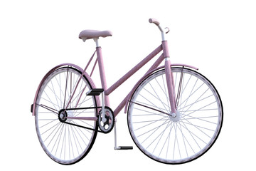 Old vintage pink bicycle isolated on white, 3d render.