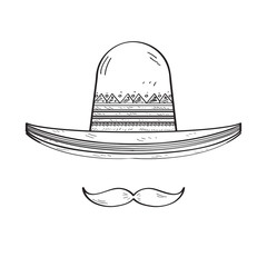 Sketch of a traditional mexican hat