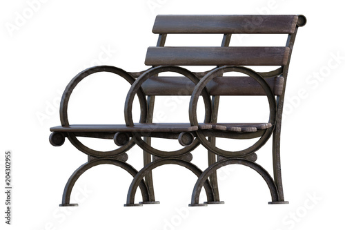 Old Wooden Bench Seat Isolated On White 3d Render Stock Photo And