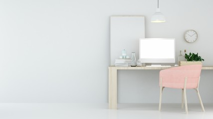 The interior relax space 3d rendering and white background minimal japanese