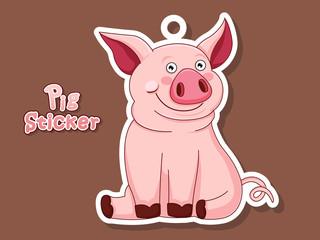 Cute Pig Cartoon Sticker. Vector Illustration With Cartoon Funny Pig