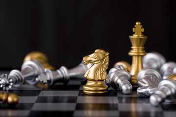 Horse chess set and win with enemy background