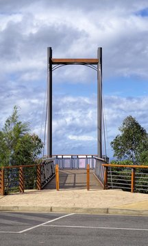Cable pier at Sealy Lookout in Coffs Harbour Australia. Also called Forest Sky Pier is made up metal and timber is tourist attraction