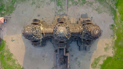 Drone photos of Phra Prang Sam Yod Pagoda in Lopburi of Thailand. Religious buildings construct by ancient Khmer art.