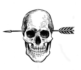 Human skull pierced with an arrow. Ink black and white drawing