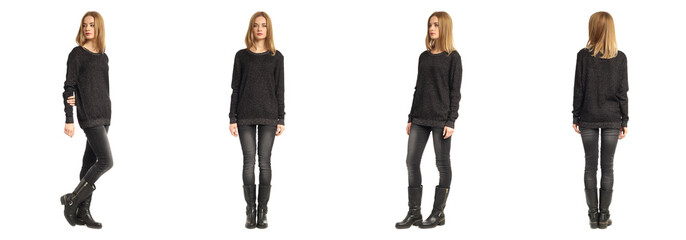 Isolated full length view of model girl in sweater Wall mural
