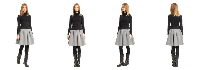 Attractive caucasian girl in black sweater and gray skirt