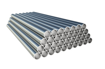 Steel metal profiles in pipe shape - industry concept
