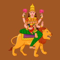 Statue of Indian Goddess Skanda Mata Sculpture