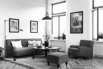 Retro Style Apartment (B&W)