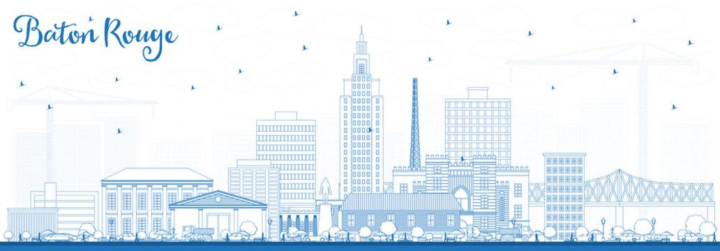 Outline Baton Rouge Louisiana City Skyline with Blue Buildings.