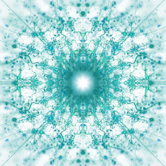 Abstract intricate symmetrical blue ornament. Fantastic fractal mandala. Psychedelic digital