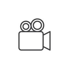Video camera outline icon. linear style sign for mobile concept and web design. Filming camera simple line vector icon. Symbol, logo illustration. Pixel perfect vector graphics