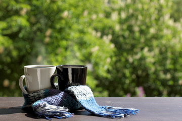 meet warm summer together/ black and white mug wrapped in a blue scarf on a table on a background of flowering garden