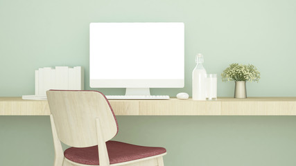 Red chair in study room and green wall decorate for artwork - living area or workplace of  small office in coffee shop or apartment - 3D Rendering