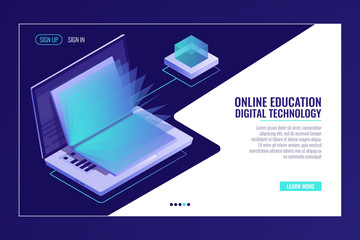 laptop with open book, learning online education concept, electron library, information searching isometric