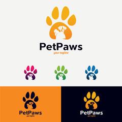 Pet Paws Logo Designs Template