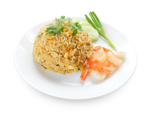 Shrimp fried rice on isolated on white with clipping path