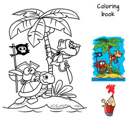 Pirates island. A monkey on a palm tree, a turtle and a funny crab with a pirate flag. Coloring book. Cartoon vector illustration