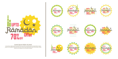 Ramadan sale offer banner set design. Promotion poster, voucher, discount, label, greeting card of Ramadan Kareem and Eid Mubarak celebration. background vector illustration