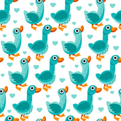 Seamless pattern from farm birds cartoon flat illustration. Duck and goose. Vector background