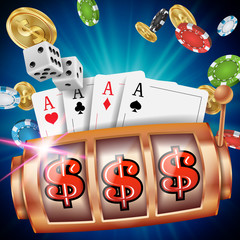 Casino Slot Machine Banner Vector. Spin Wheel. Brochure. Casino Concept With Slot Machine. Illustration