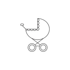 Baby carriage line icon