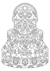 Hand drawn Skull on Cake with Flowers Pattern.Mexican holiday Day of the Dead.isolated vector file