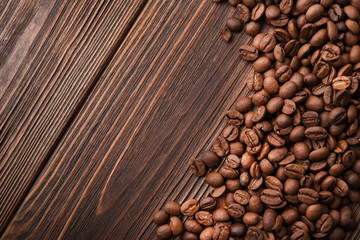Closeup of natural coffee beans
