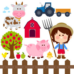 Farmer boy and animals. Vector illustration collection