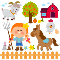 Farmer girl and animals. Vector illustration collection