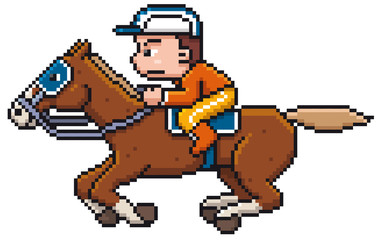Wall Murals Pixel Vector illustration of Cartoon Horse riding - Pixel design