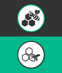 Honey vector icon. Bee on a part of honeycomb.