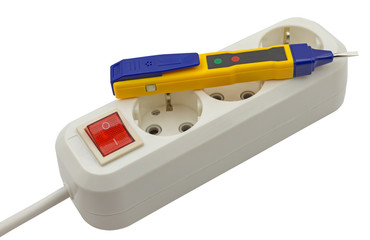 Electrical tester screwdriver and Electric extension on white
