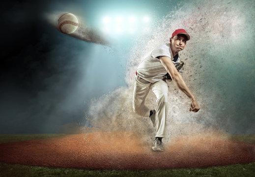 Baseball player in dynamic action around splash drops