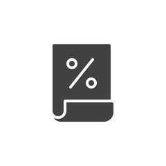 Bill paper with percentage sign vector icon. filled flat sign for mobile concept and web design. Loan document simple solid icon. Symbol, logo illustration. Pixel perfect vector graphics