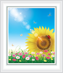 Floral design with big sunflowers against the blue sky