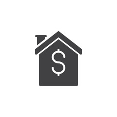 House with dollar sign vector icon. filled flat sign for mobile concept and web design. Home Loan Mortgage simple solid icon. Symbol, logo illustration. Pixel perfect vector graphics