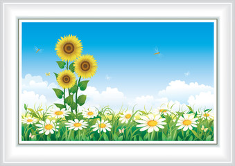 Summer landscape with daisies and sunflowers