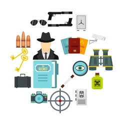 Spy tools set flat icons