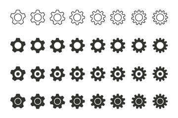 Settings vector icons set.