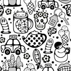 Endless pattern with cartoon characters.