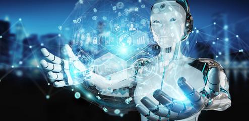 White woman cyborg using digital chart interface 3D rendering