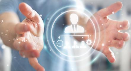 Businessman using business leadership chart 3D rendering